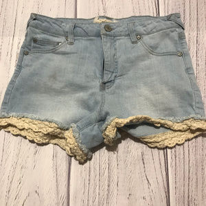 Altar'd State Jean Shorts w/ Lace Trim